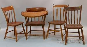 Four Assorted Windsor Thumbback Side Chairs and a Firehouse Chair with Tray