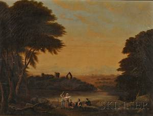 American School 19th Century Romantic Landscape with Figures