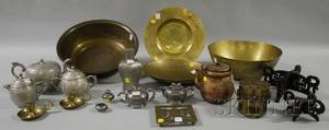Eight Pieces of Chinese Pewter and Ten Pieces of Assorted Asian Brass and Metalware