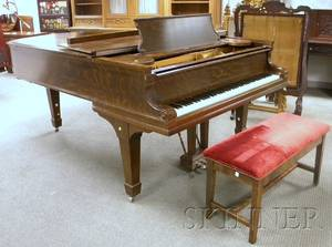 Steinway  Sons Oak Veneer Grand Piano with Bench