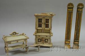 Five Pieces of Painted Doll Furniture