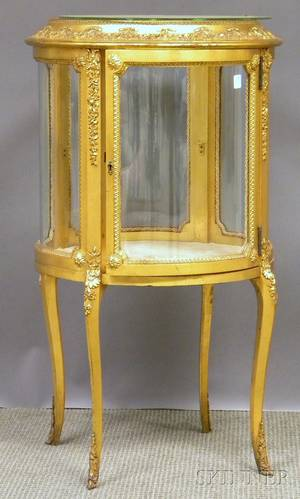 Louis XVstyle Circular Giltwood and Gesso Vitrine