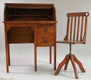 Childs Rolltop Desk and Chair