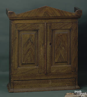 Small painted pine hanging cupboard ca 1830