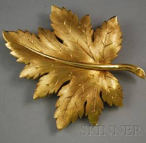 Tiffany  Co 18kt Gold Leaf Brooch