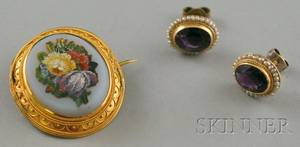 Victorian Micromosaic Brooch and a Pair of Amethyst and Seed Pearl Earrings