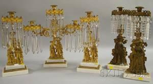 Threepiece Giltmetal Figural Girandole Set and Two Giltmetal Figural Girandole Candlesticks