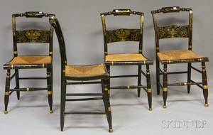 Set of Four Hitchcockstyle Grained and Stencildecorated Side Chairs with Woven Rush Seats