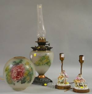 Pair of Dresdentype Porcelain Figural GroupTable Lamps and a Victorian Metalmounted Transfer Floraldecorated Opaque Glass Gonew