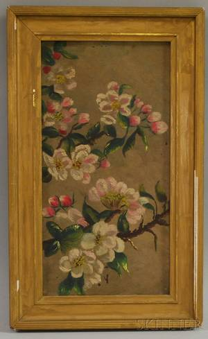 19th20th Century American School Oil on Canvas Still Life with Apple Blossom Bough