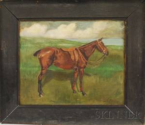 Oak Framed Early 20th Century AmericanBritish School Oil on Canvas Portrait of a Horse