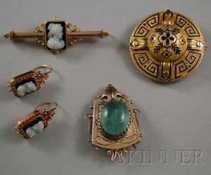 Five Victorian Gold Jewelry Items