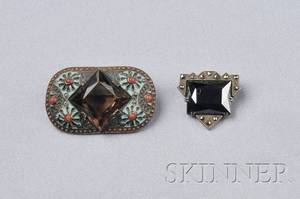 Two Art Deco Sterling Silver Gemset Brooches