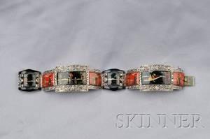 Art Deco Sterling Silver Enamel and Marcasite Bracelet Germany