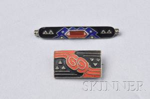 Two Art Deco Sterling Silver and Matte Enamel Brooches Attributed to Theodor Fahrner Germany