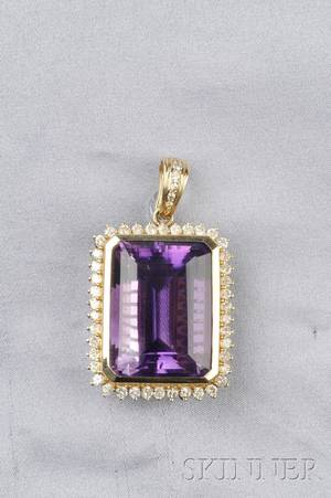 14kt Gold Amethyst and Diamond Pendant