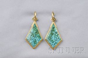 18kt and 22kt Gold and Turquoise in Matrix Earpendants