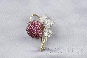 Platinum 18kt Gold Ruby and Diamond Strawberry Brooch