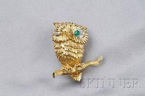 18kt Gold Emerald and Diamond Brooch Van Cleef  Arpels