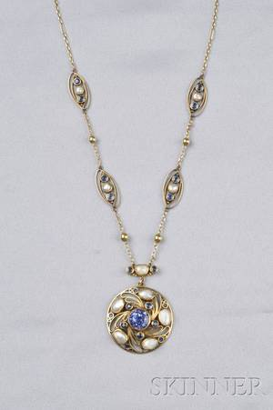 Arts  Crafts 18kt Gold Sapphire and Freshwater Pearl Necklace Margaret Rogers