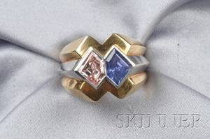 18kt Gold Platinum Colored Diamond and Sapphire Ring Van Cleef  Arpels