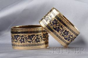 Pair of Victorian 14kt Gold and Blue Tracery Enamel Bracelets