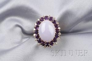 18kt Gold Lavender Jade Amethyst and Diamond Ring