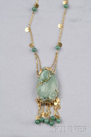 18kt Gold Carved Jade and Adventurine Bead Necklace