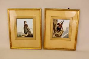 A Pair of 19th C Handpainted Engravings