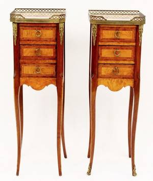 Pair of 3 Drawer French Style Chairside Stands