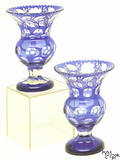 Pair of cut to clear blue overlay vases ca 1900
