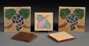 Five Grueby and Pardee Tiles