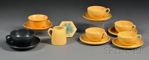 Six SEG Cups and Saucers Small Pitcher and a Tile