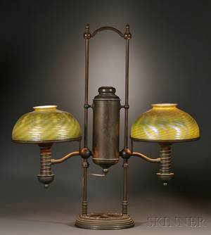 Bronze Student Lamp with Tiffany Green Damascene Glass Shades