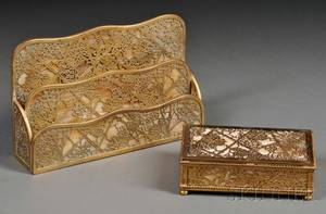 Tiffany Studios Letter Holder and a Box