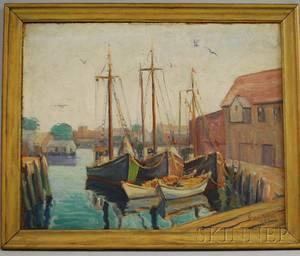 Rosa Silva American 20th Century Fishing Boats at Dock