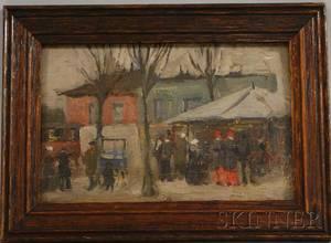 French School 20th Century Street Scene in Winter