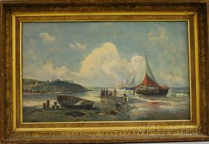 Continental School 19th20th Century Fishermen on the Beach