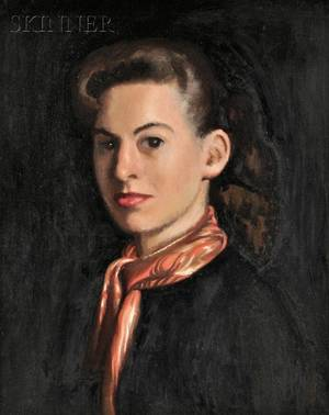 William McGregor Paxton American 18691941 Lot of Two Portraits Young Woman in Profile