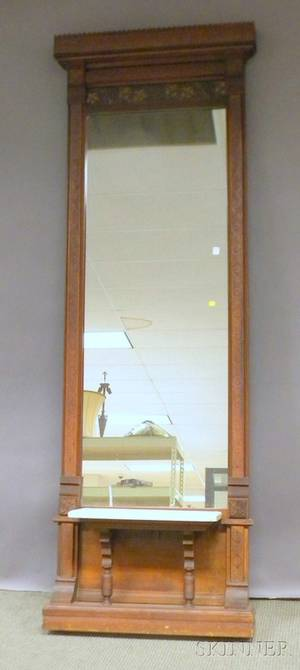 Victorian Pressed Walnut Pier Mirror with White Marble Shelf