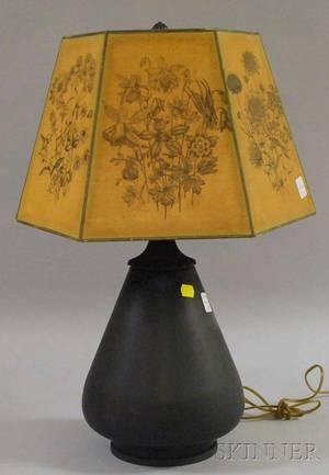 Bradley  Hubbard Greenpainted Pearshaped Metal Table Lamp
