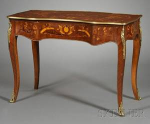 Louis XV Style Bronzemounted and Marquetryinlaid Mahogany Writing Table