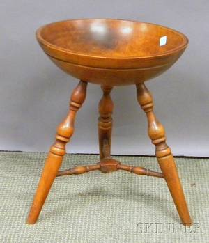 Wallace Nuttingtype Colonial Revival Maple Bowl on Stand