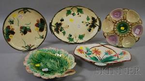 Five Majolica Decorated Pottery Serving Dishes