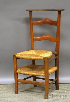 Continental Provincial Wood Slatback Cathedral with Rush Seat