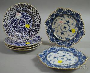 Set of Four Austrian Reticulated Porcelain Plates and a Pair of Royal Copenhagen Reticulated Porcelain Plates