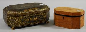 Chinese Giltdecorated Black Lacquered Sewing Box and an Octagonal Inlaid Burl Veneer Box