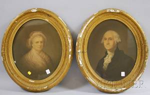 Framed Lithograph Portraits of George and Martha Washington and N Currier Lithograph Portrait of King William III Crossing the Boy