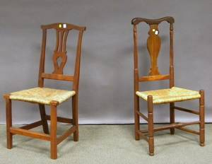 Country Queen Anne Side Chair and a Chippendale Cherry Side Chair