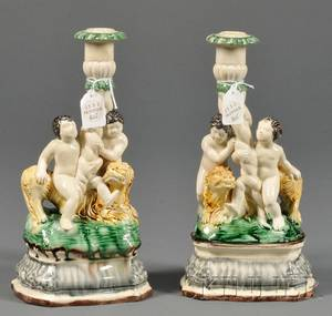 Pair of Creamware Figural Candlesticks